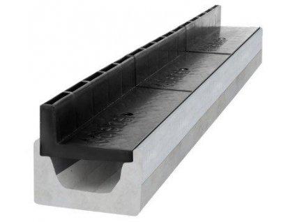 Odvodňovací žlaby betonový štěrbinový PVC kryt 25 t (1000 x 145 x 160 mm)