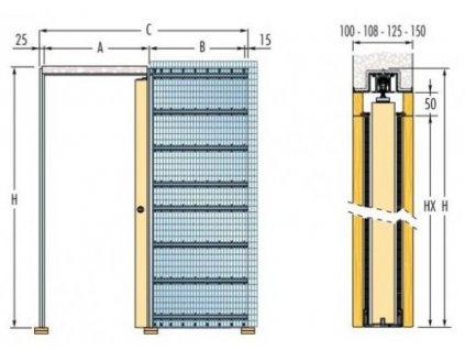 ECLISSE stavební pouzdro JEDNOKŘÍDLÉ do zdiva 800 mm