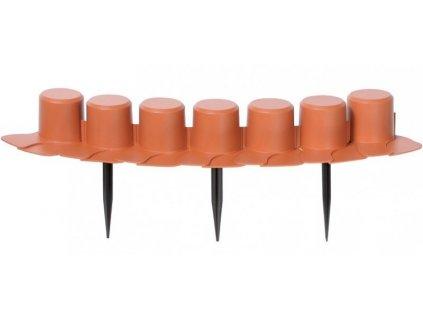 Zahradní palisáda 7-dílná cihlová 6 cm / 4,05 m