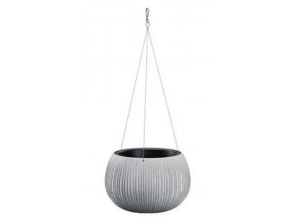 Závěsný plastový květináč Beton Bowl šedý Ø 23,8 cm.