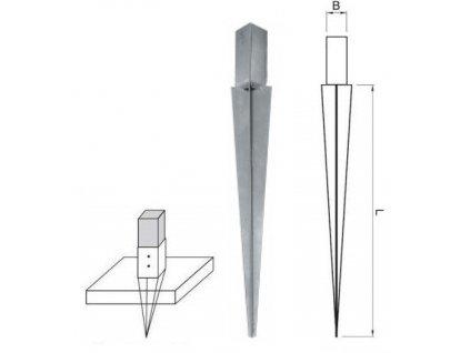 Nosník sloupu ECO W-PBH 90 x 90 x 750 mm