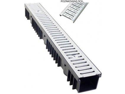 Odvodňovací žlaby pozinkovaná mříž 1,5t (1000 x 130 x 105 mm)