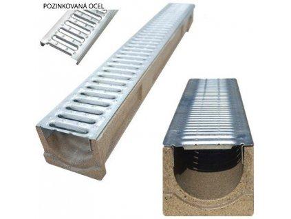 Odvodňovací polymerbetonový žlab 1,5t mříž pozinkovaná (1000 x 125 x 100 mm)