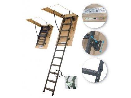 Skládací půdní schody kovové FAKRO LMS 70 x 120 cm (280 cm)