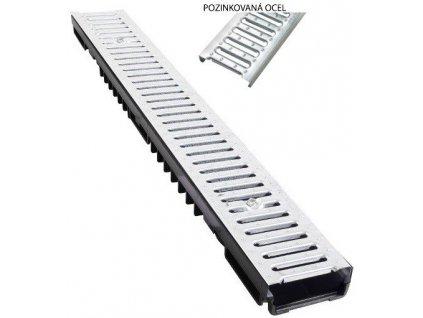 Odvodňovací žlaby pozinkovaná mříž 1,5t (1000 x 130 x 55 mm)
