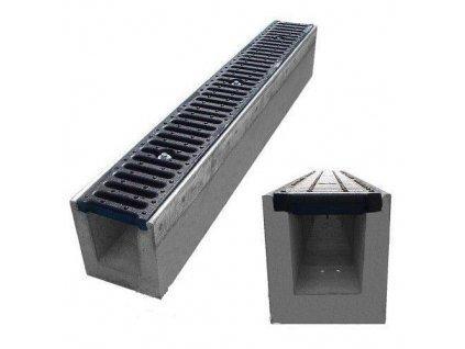 Odvodňovací žlab BETONOVÝ šedá litina 25t (1000 x 145 x 180 mm)