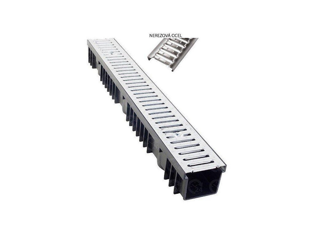 Odvodňovací žľab PVC nerezový plech 1,5t (1000x130x105)