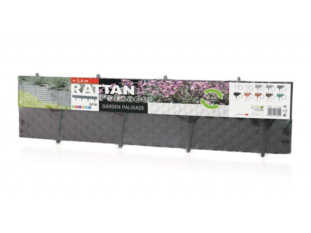 Obrubník plastový palisáda RATAN hnedá 0,8 m / 9,5 cm