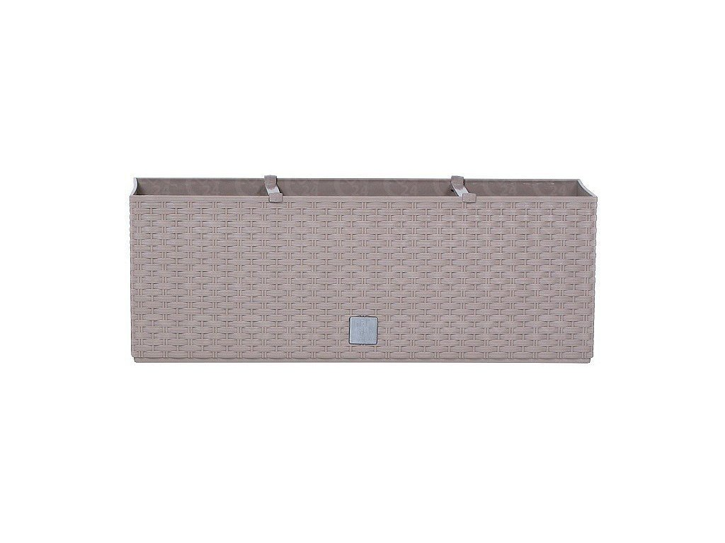Plastový samozavlažovacie truhlík ratan Rato Case mocca 60 x 25 cm