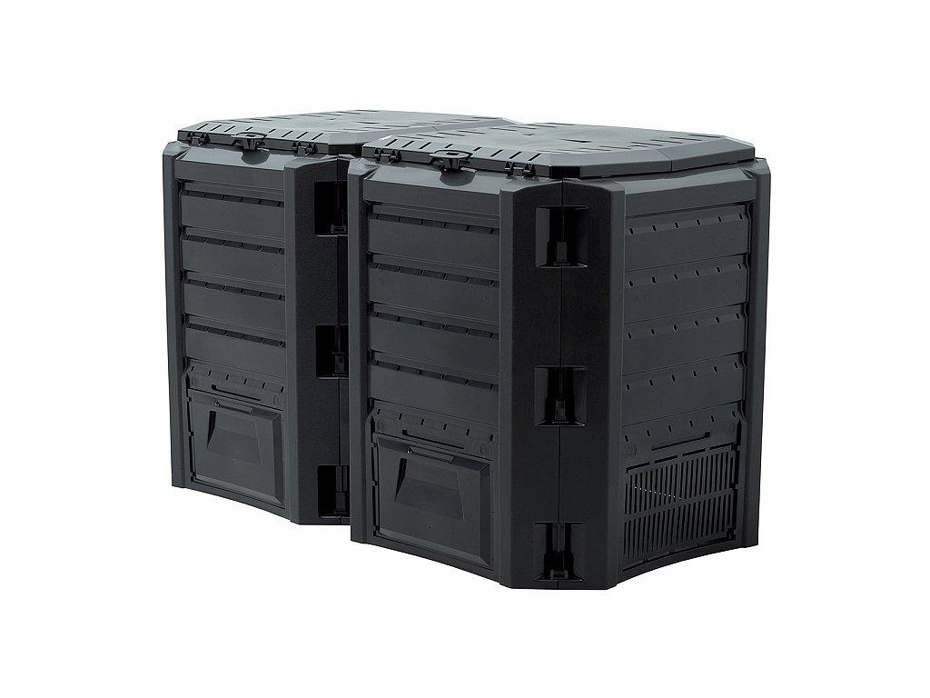 Kompostér Biocompo 800 l v čiernej farbe.