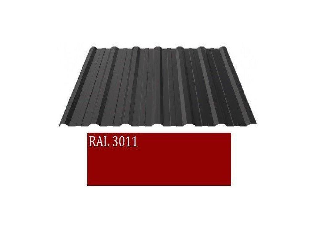 Trapézový plech T 18 PLUS 0,5 mm BLACHOTRAPEZ prevedenie RAL 3011polyester štandard, dĺžka 1,5 m.