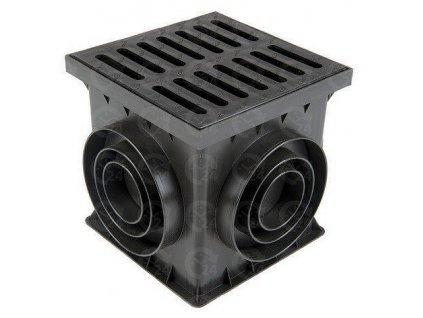 Revízna šachta 250 x 250 mm čierna KOMPLET s mrežou (odtok 75-160 mm)