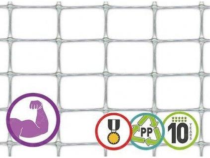 Plastové pletivo odolné MILLENNIUM 1,5 x 25 m plot strieborný