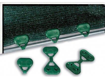 Úchyt na tieniace tkaniny ZELENÝ 5 cm kotvenie CLIPS UV odolné