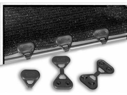 Úchyt na tieniace tkaniny ČIERNY 5 cm kotvenie CLIPS UV odolné
