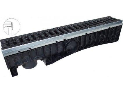 Odvodňovací plastový žľab EXEL 100H liatinová mreža 40 t (1000 x 158 x 212 mm)