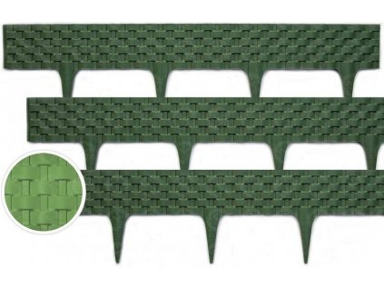 Obrubník plastový palisáda RATAN zelená 0,8 m / 9,5 cm