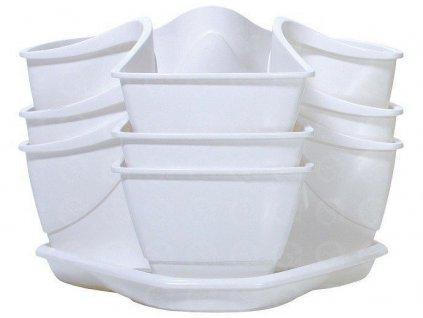 Bylinkové plastové kvetináče Coubi Herbal biely