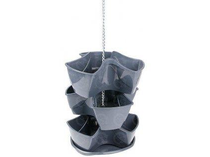 Bylinkové plastové kvetináče Coubi Herbal závesný grafitový