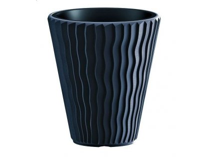 Čierné kvetináče plastové Sandy antracit Ø 29,7 cm