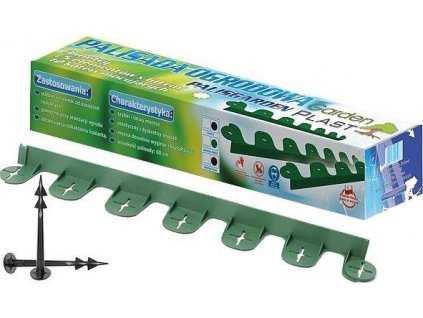Zelený neviditeľný obrubník Palisgarden plastový 38mm x 60cm + 2 kolíky zadarmo