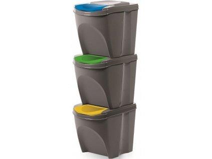 Odpadkový kôš Sortibox sivý kameň súprava 3 ks