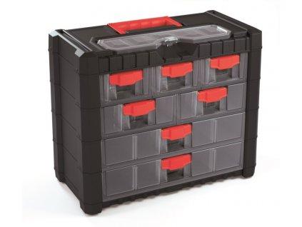 plastovy organizer zavesny multicase cargo 400x200x326 cervene uchyty