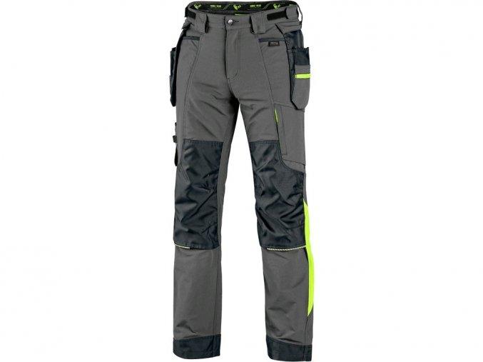 Kalhoty CXS NAOS pánské, šedo-černé, HV žluté doplňky