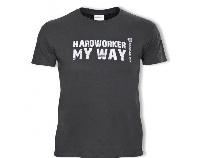 prom hardworker t shirt grey triko sede