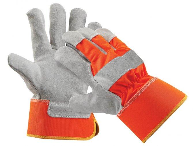 CURLEW ORANGE - pracovní rukavice hovězí štípenka vel. 10,5