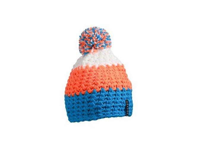 MB7940 - háčkovaná čepice s bambulí modro-oranžovo-bílá čepice