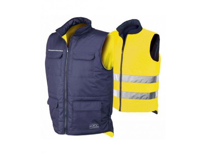 ISSA REVERSE 04069 reflexní oboustraná vesta žlutá/modrá