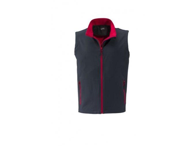 James a Nicholson JN1128 Pánská softshellová vesta šedá / červená