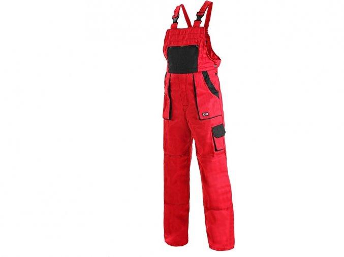 LUX ROBIN monterkové kalhoty s laclem červeno-černé