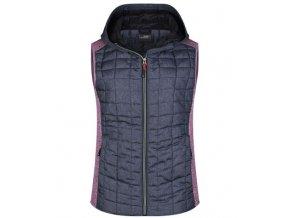 Dámská prošívaná vesta JN767 růžový melír / antracitový melír