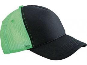 MB6550 - Retro síťovaná čepice s kšiltem černo-zelená