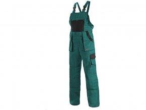 LUX ROBIN monterkové kalhoty s laclem zeleno-černé