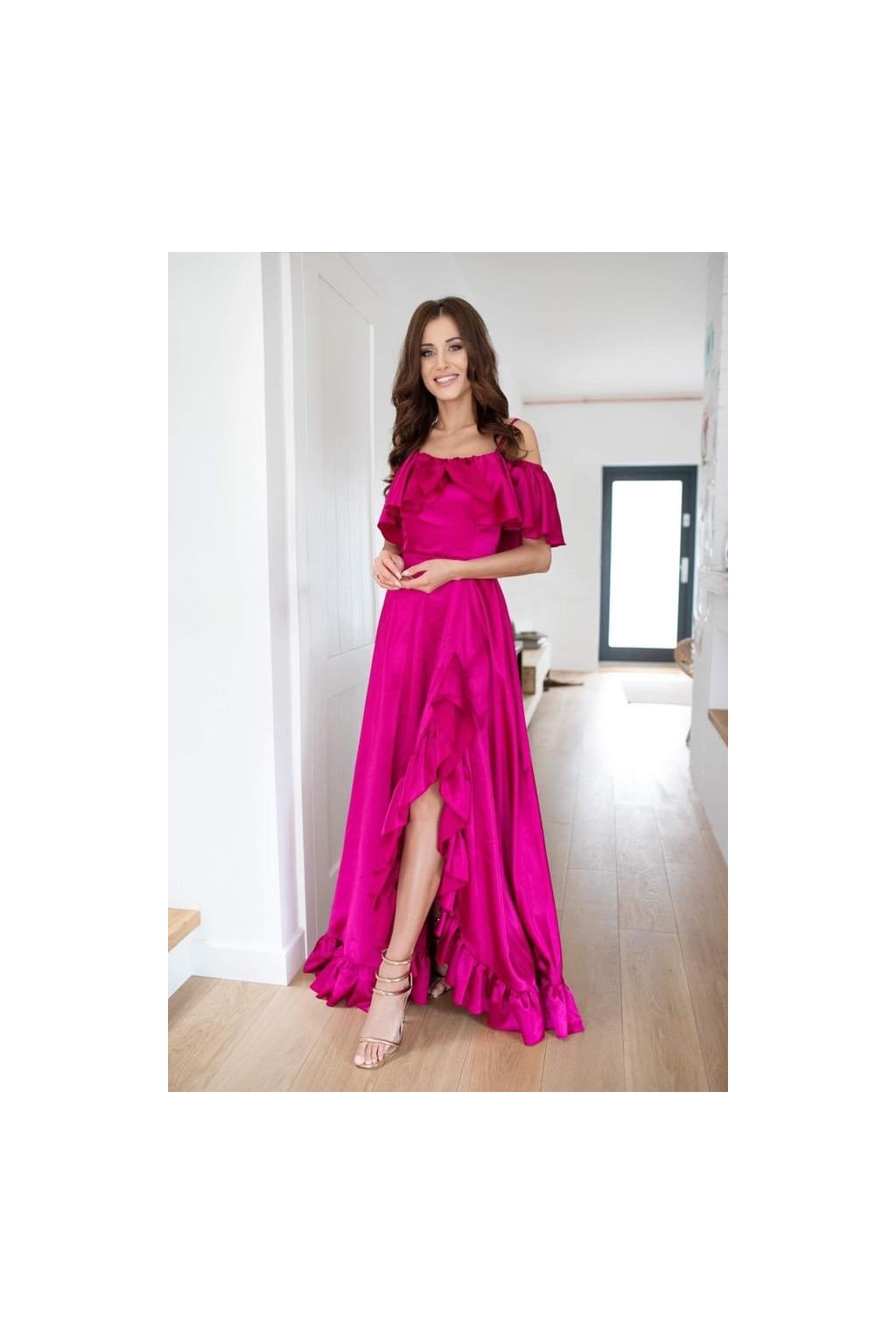 Scarlet - dámske dlhé spoločenské šaty s volánikmi - fuksia