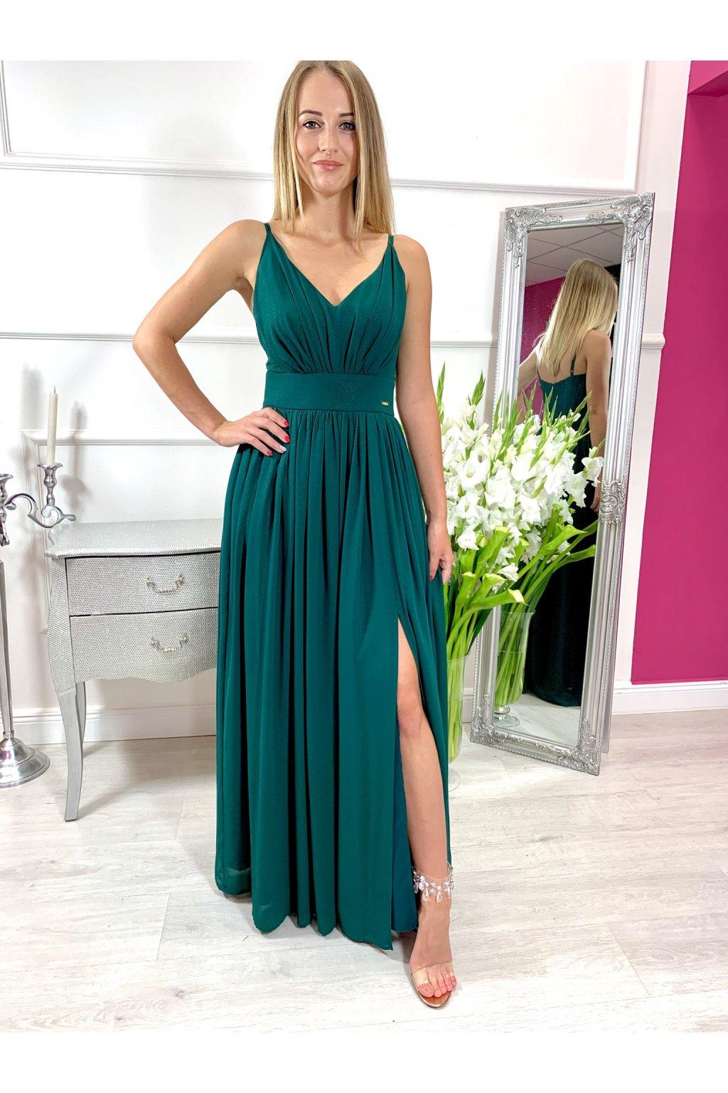 ROSE dámske dlhé spoločenské šaty s rozparkom - zelené