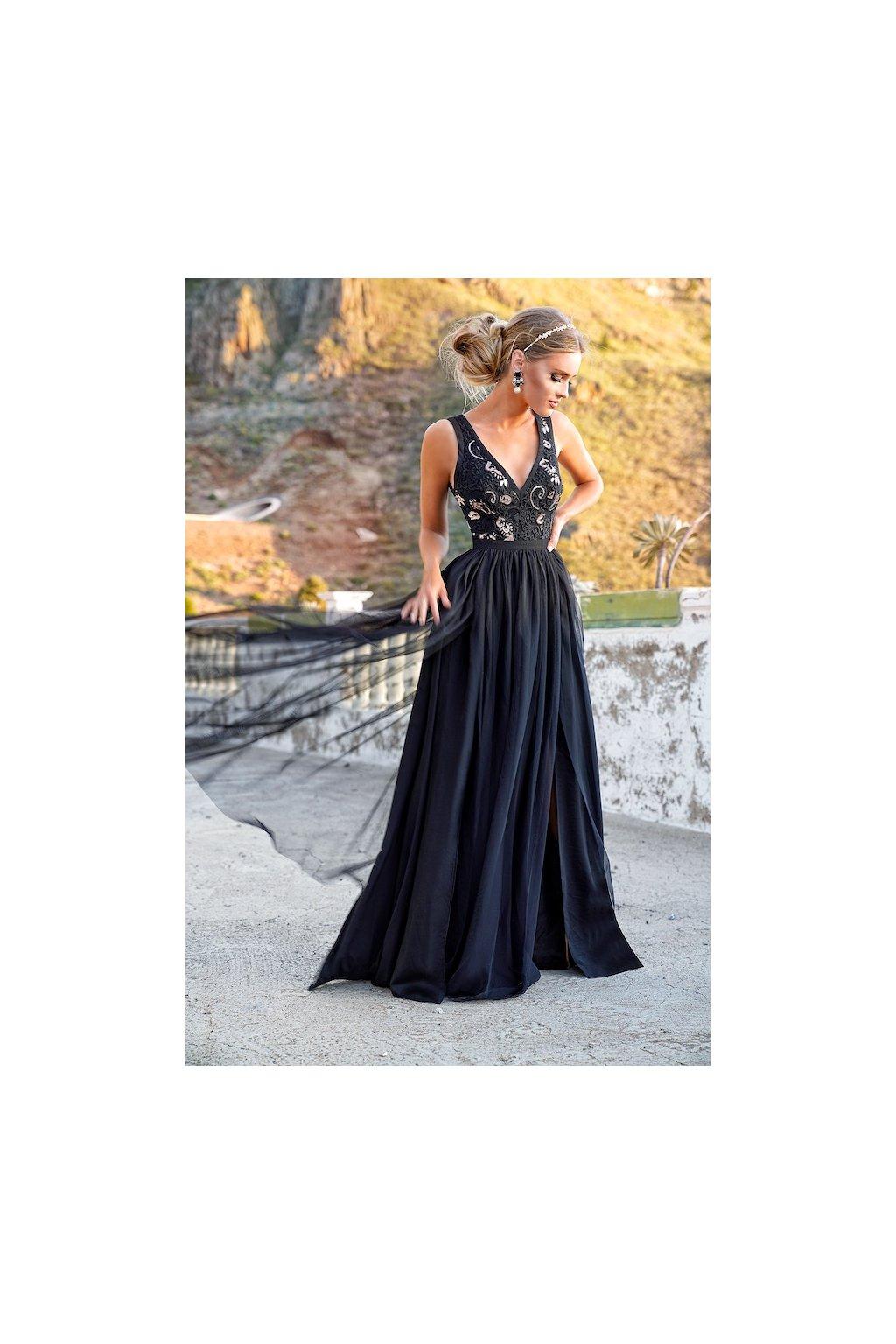 CHARLOTTE dámske dlhé spoločenské šaty s rozparkami - čierne