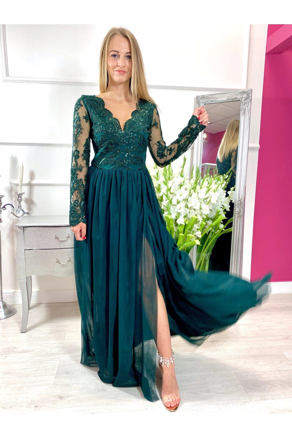 ADEL dámske dlhé spolčenské šaty smaragdové
