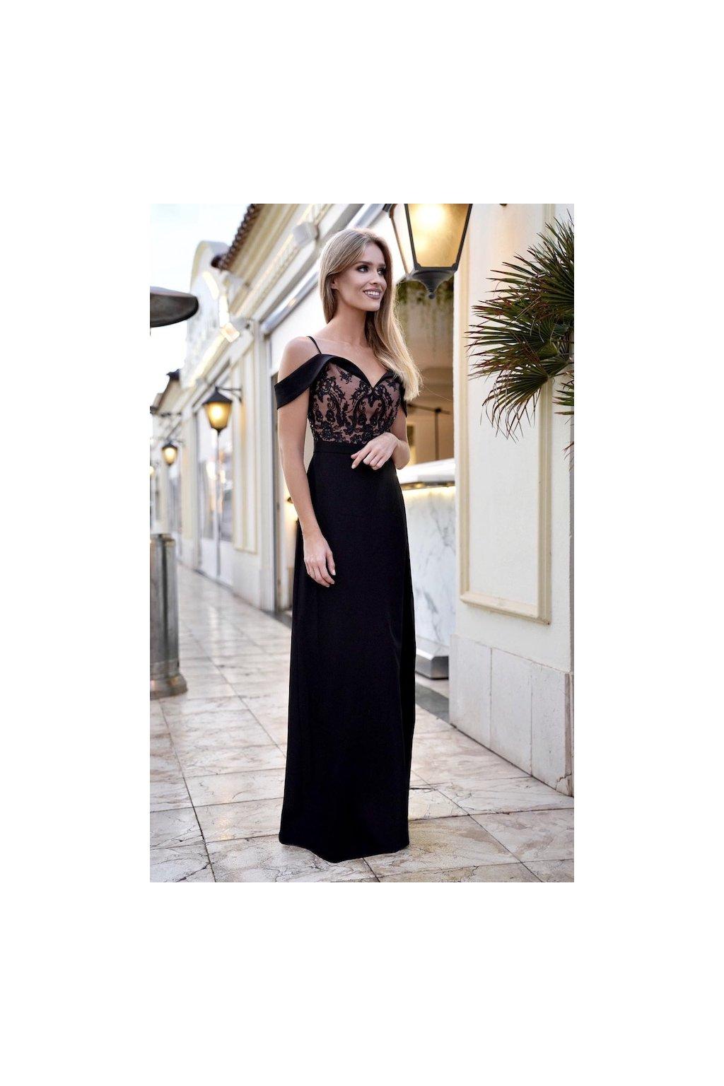 AMADNA - dámske dlhé spoločenské šaty - krém. / čierne