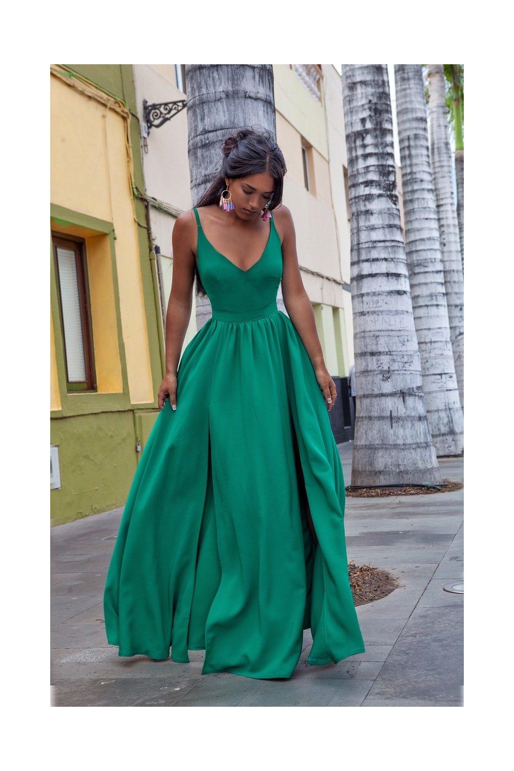NINA dámske dlhé spoločenské šaty - zelené