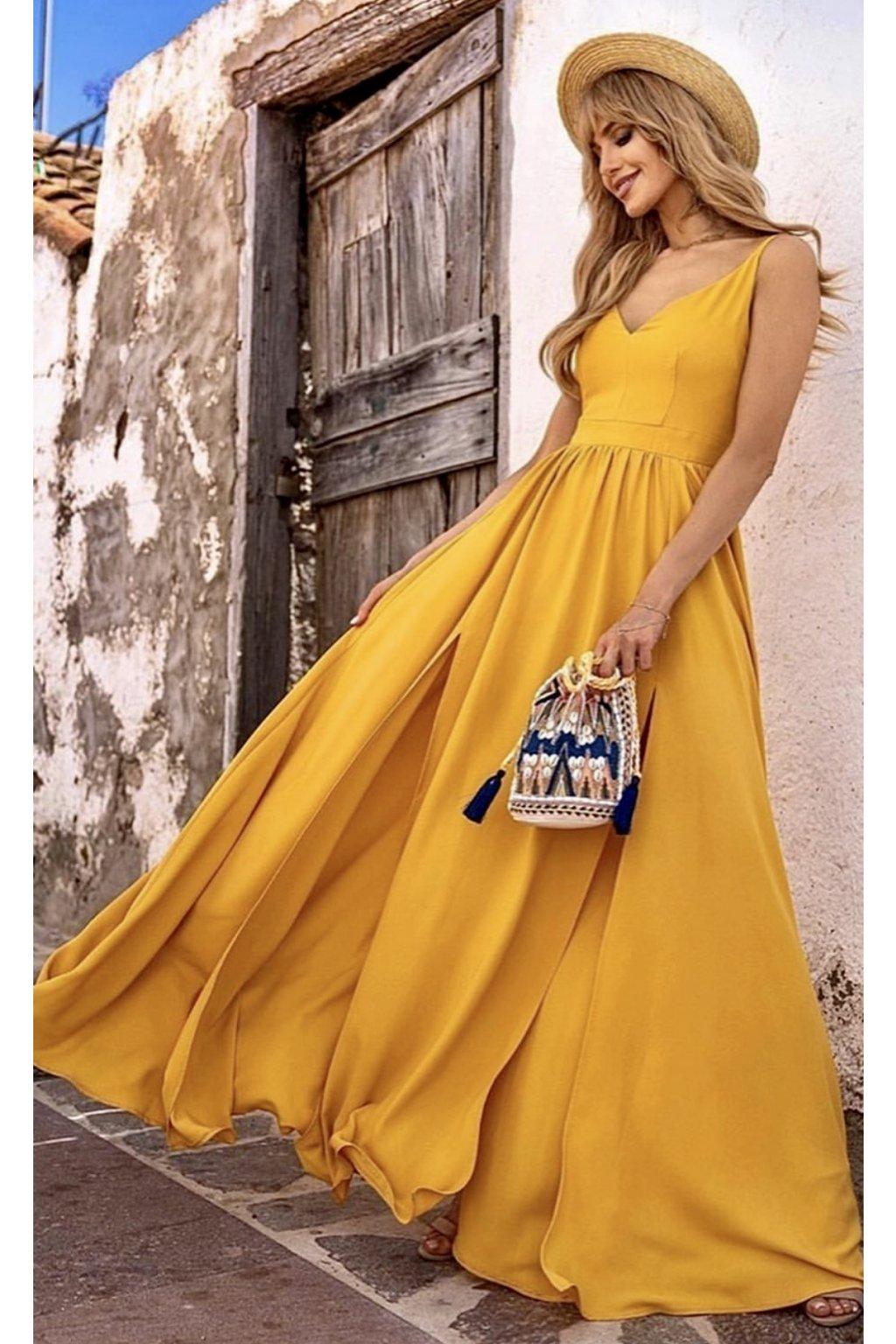 NINA dámske dlhé spoločenské šaty - horčicové