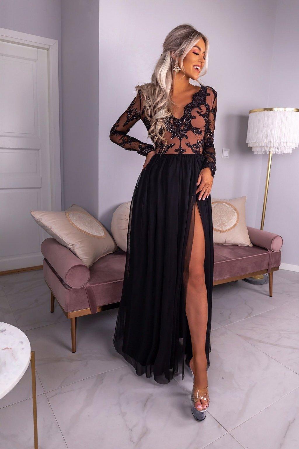 ADEL dámske dlhé spolčenské šaty béž/čierne