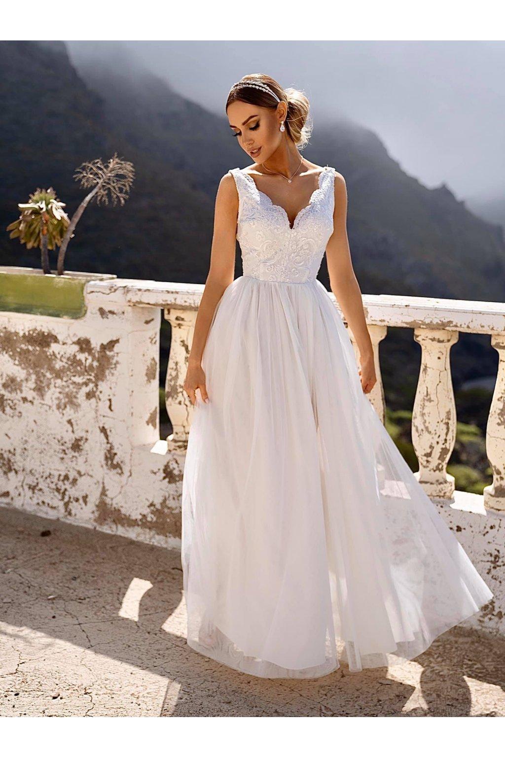 CHIARA dámske dlhé spoločenské šaty biele