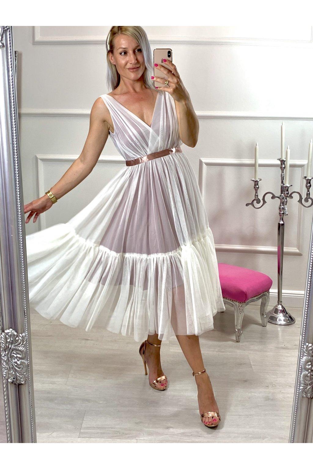 PARIS - dámske midi šaty - biele