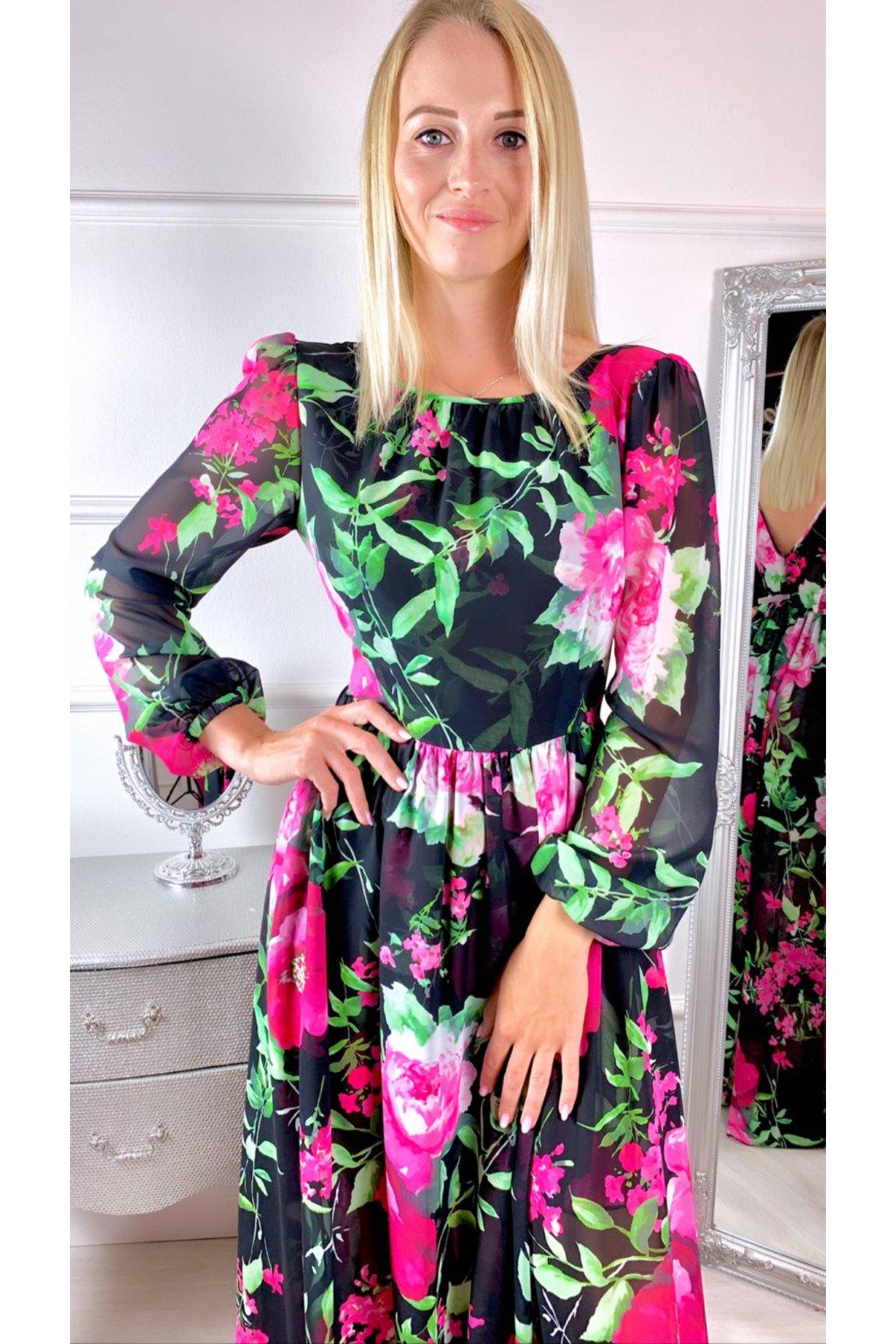 Linda - dámske dlhé šaty - čierne kvetované