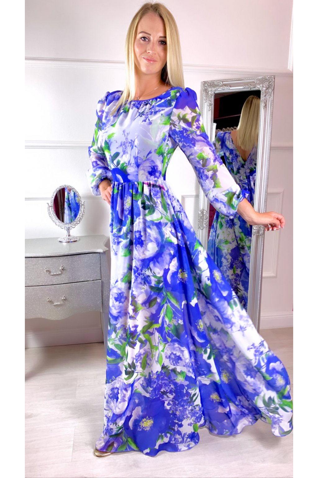 Linda - dámske dlhé šaty - modré kvetované