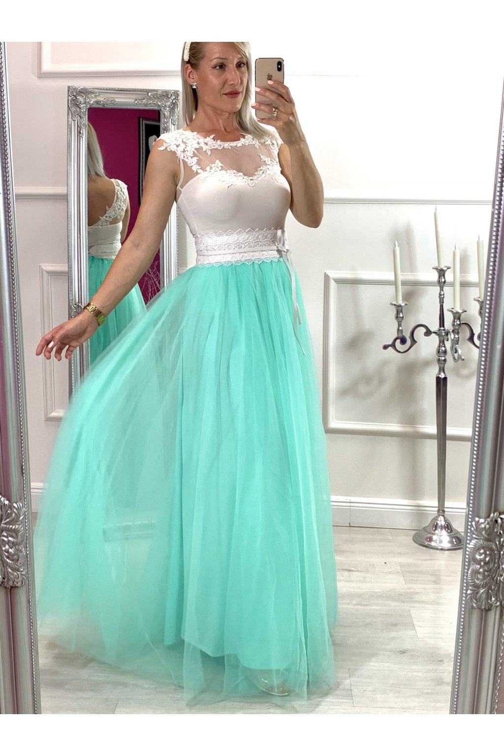 HELEN dámska dlhá tylová sukňa menta